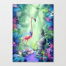 Girl & Flamingo Canvas Print