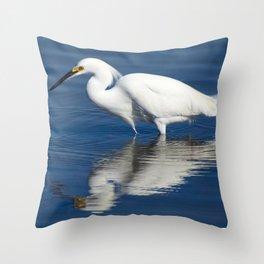 Bird series: Snowy Egret Throw Pillow