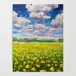 Original Oil and palette knife  painting on paper: The endless summer field of yellow flowers. Poster