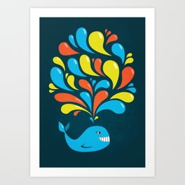 Dark Colorful Happy Cartoon Whale Art Print