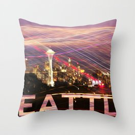 Seattle long exposure  Throw Pillow