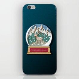 Merry Christmas Snowglobe Reindeer iPhone Skin
