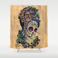 fitzgerald Shower Curtains featuring Marie de los Muertos by Cathy FitzGerald