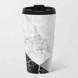 White Marble Black Granite & Silver #230 Travel Mug