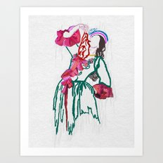 Lady Draped in Red Art Print