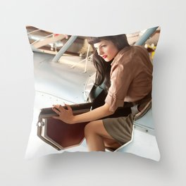 """Flight Deck"" - The Playful Pinup - Airplane Pilot Pin-up Girl by Maxwell H. Johnson Throw Pillow"