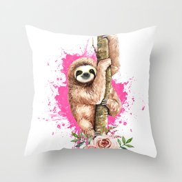 Watercolor Sloth Pink Sloth Throw Pillow