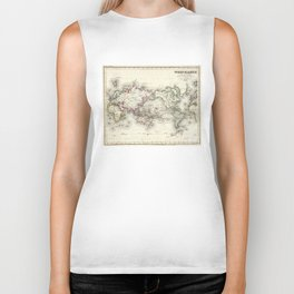 Vintage Map of The World (1844) Biker Tank
