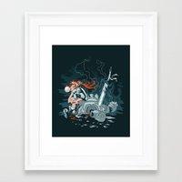 cyberpunk Framed Art Prints featuring Cyberpunk Beat Down by Dooomcat