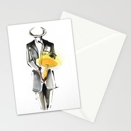Saxophonist Musician Drawing Stationery Cards