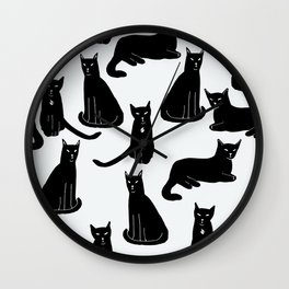 Brothers: Black cats Wall Clock