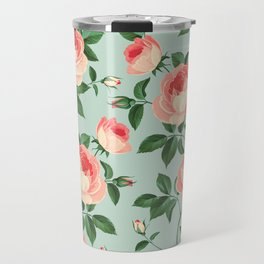 Roses on Turquoise Travel Mug