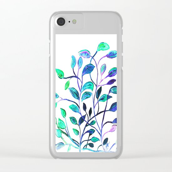 Shiny Silver Teal Leaves Clear iPhone Case