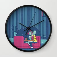 50s Wall Clocks featuring Diner by Ale Giorgini