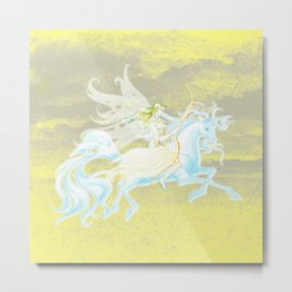 Yellow Fairy Flying on a Unicorn with a Yellow Sky Metal Print