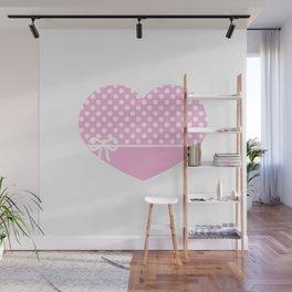 Heart & Ribbon-pink Wall Mural