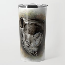 Black Rhino Watercolor Portrait Travel Mug