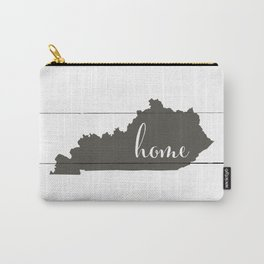 Kentucky is Home - Charcoal on White Wood Carry-All Pouch