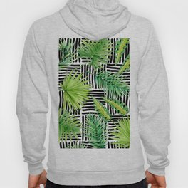 Tropical Leaves Watercolor on Black and White Pattern Hoody