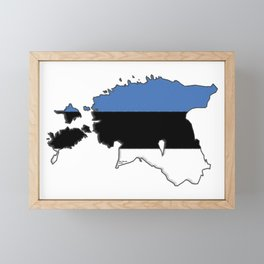 Estonia Map with Estonian Flag Framed Mini Art Print
