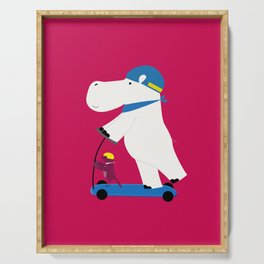 Hippo and a bird together on a scooter Serving Tray