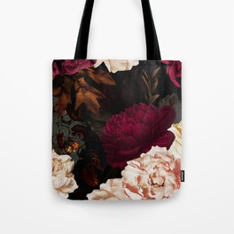 Vintage & Shabby Chic - Midnight Rose and Peony Garden Tote Bag