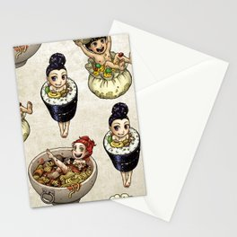 FOOD FAERIES- udon, sushi, and dimsum Stationery Cards