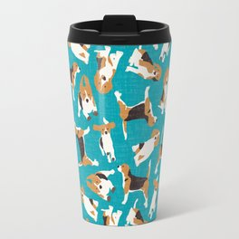 beagle scatter blue Travel Mug