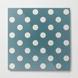 Blue and White Polka Dots Metal Print