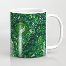 Water Droplets on Green Leaf Coffee Mug