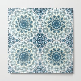 Creamy and blue mandala pattern#4 Metal Print