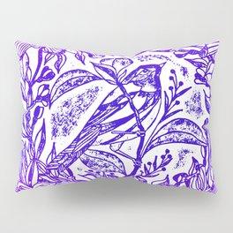 Songbird In Magnolia Wreath, Purple Linocut Pillow Sham
