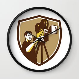 Movie Director Movie Film Camera Shield Retro Wall Clock