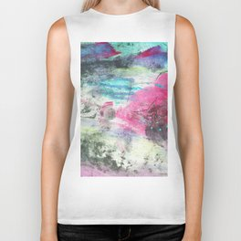 Grunge magenta teal hand painted watercolor Biker Tank
