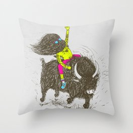 Ride a buffalo Throw Pillow