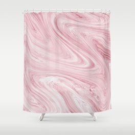 Soft Bubblegum Pink Marble Pattern Shower Curtain