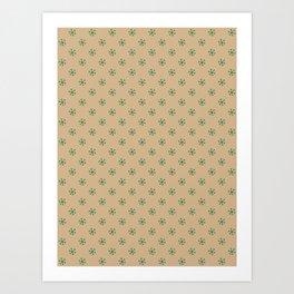 Cadmium Green on Tan Brown Snowflakes Art Print