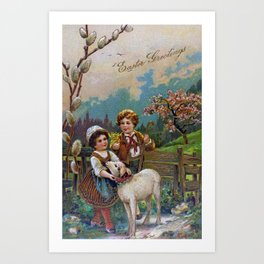 Easter Greetings 1908 Art Print