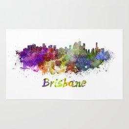 Brisbane skyline in watercolor Rug