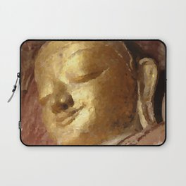 Buddha Head Gold Illustration Laptop Sleeve