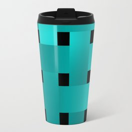 Abstraction .Weave turquoise satin ribbons . Patchwork . Travel Mug