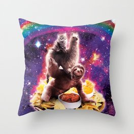 Space Cat Llama Sloth Riding Nachos Throw Pillow