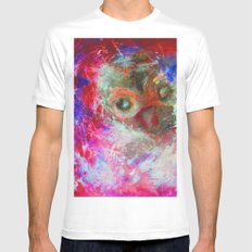 Abstract Owl MEDIUM White Mens Fitted Tee