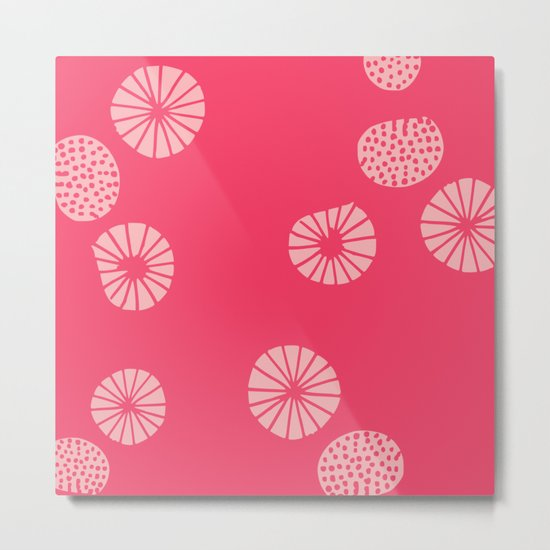 Dandelion flying hot pink Metal Print