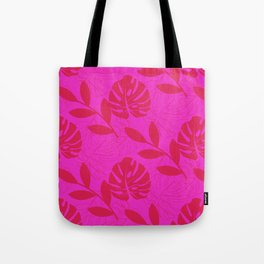 Monstera Leave Red In Red Pattern Tote Bag