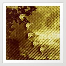 gold butterflies and abstract landscape Art Print