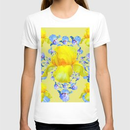 YELLOW & BLUE-WHITE IRIS BLACK ABSTRACT PATTERN T-shirt