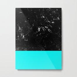 Aqua Blue Meets Black Marble #1 #decor #art #society6 Metal Print