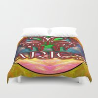 zodiac Duvet Covers featuring Aries Zodiac by CAP Artwork & Design