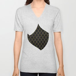 Black scales pattern with golden lines Unisex V-Neck